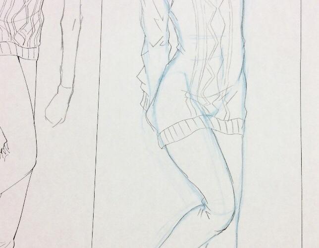 服のシワの練習イラスト