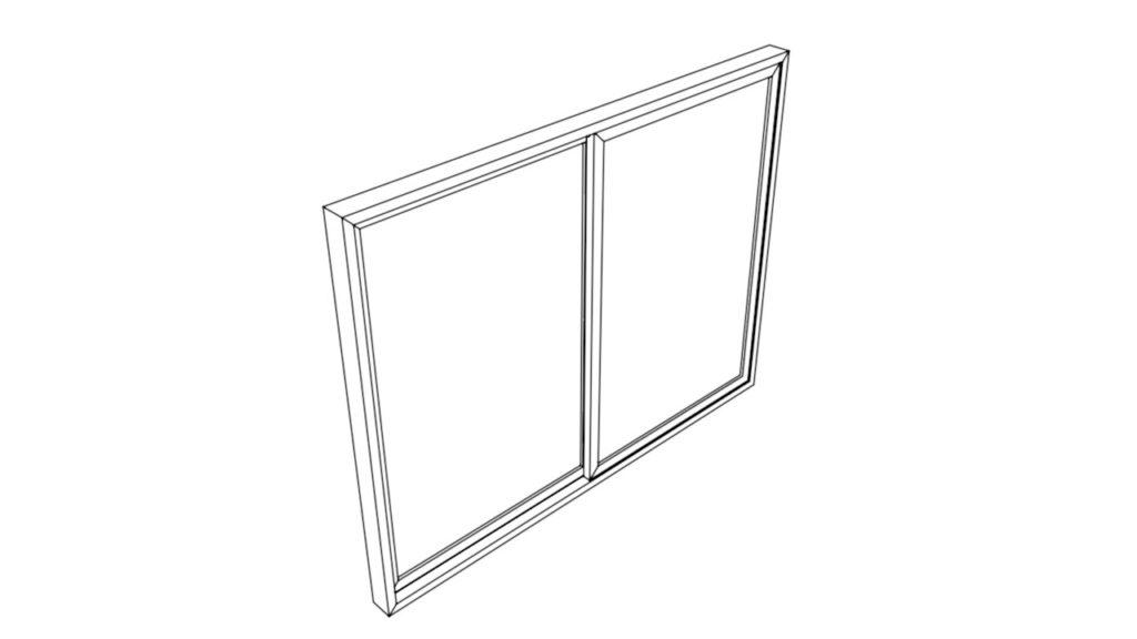 サッシ窓+枠のイラスト