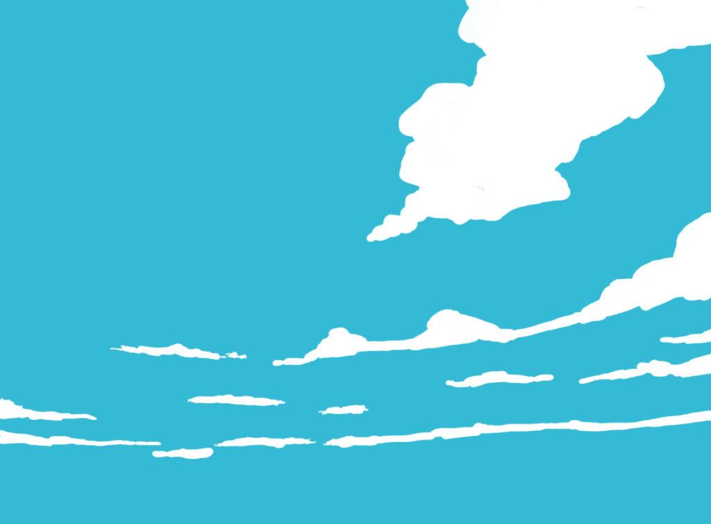 雲を大雑把に描いて配置