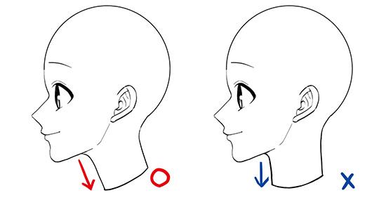 横顔を描く時は首が真っ直ぐだと不自然