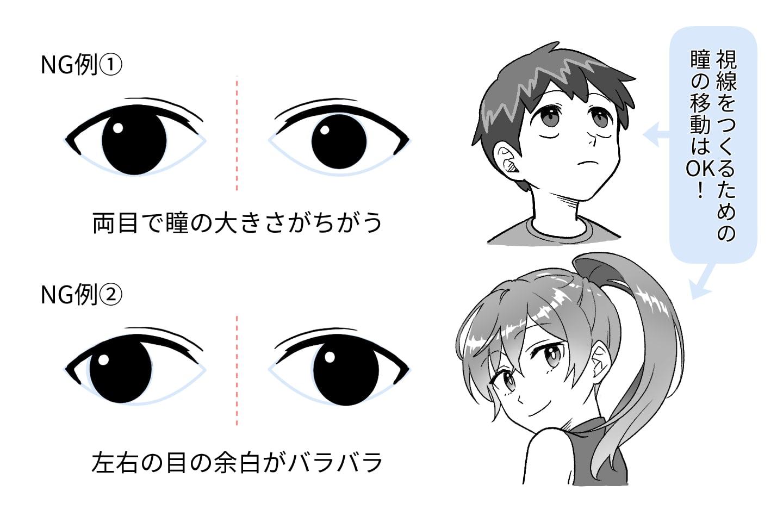 黒目と白目の大きさのNG例