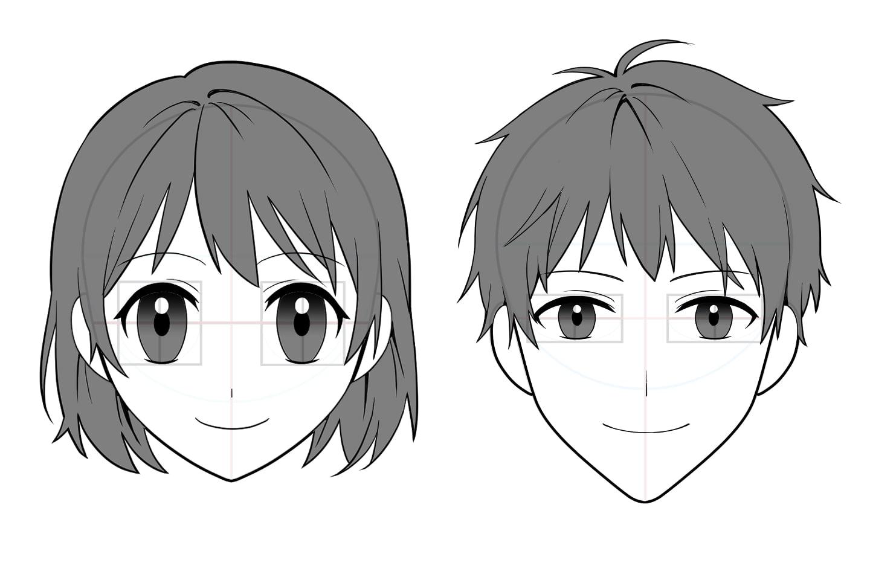 輪郭、目のアタリから顔を描く