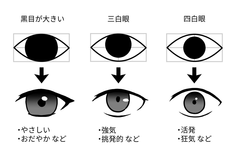 黒目と白目の割合で印象を変える