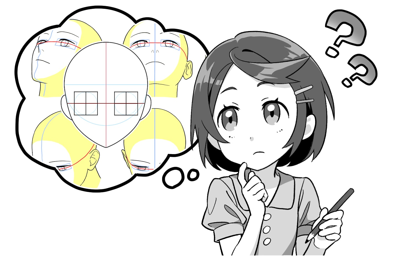 目の描き方を練習する女の子イラスト