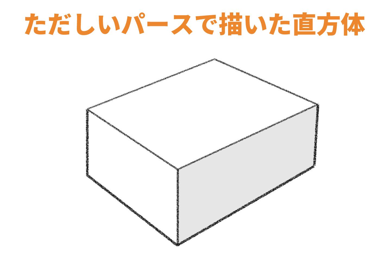 正しいパースで描かれた直方体