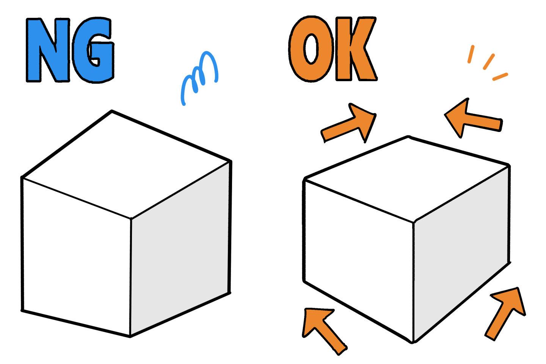 パースが変な直方体と正しい直方体のイラスト