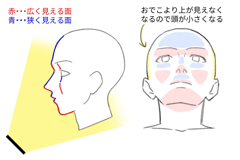 アオリ向きの顔の描き方のコツ