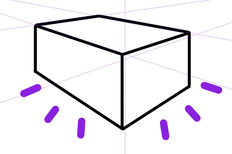 完成した2点透視図法で描いたイラスト