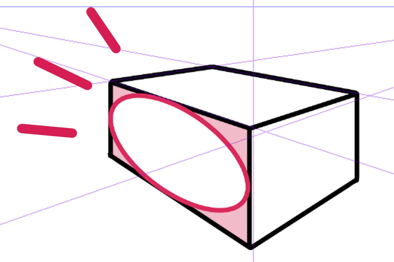 パース定規に合わせて楕円を描いた絵