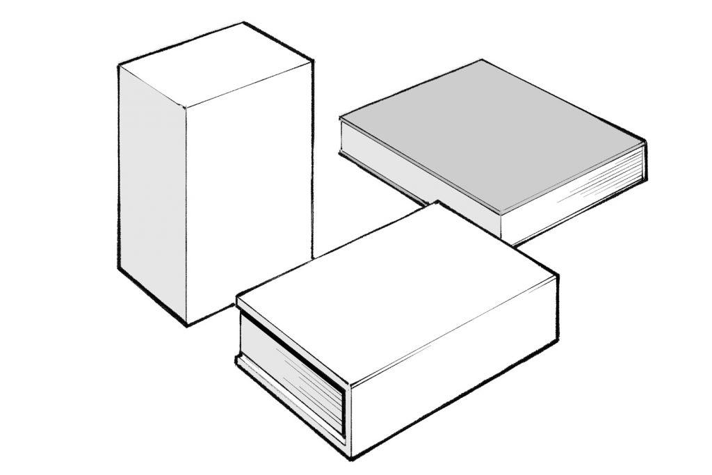 2つ以上の直方体や本などのモチーフが描かれたイラスト