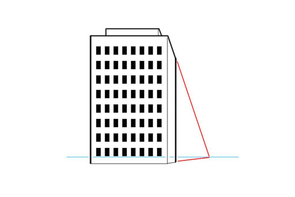 1点透視図法で描いた建物