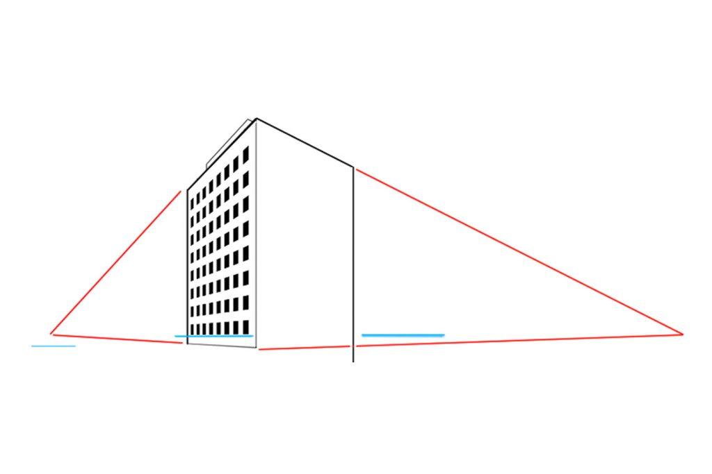 2点透視図法で描いた建物
