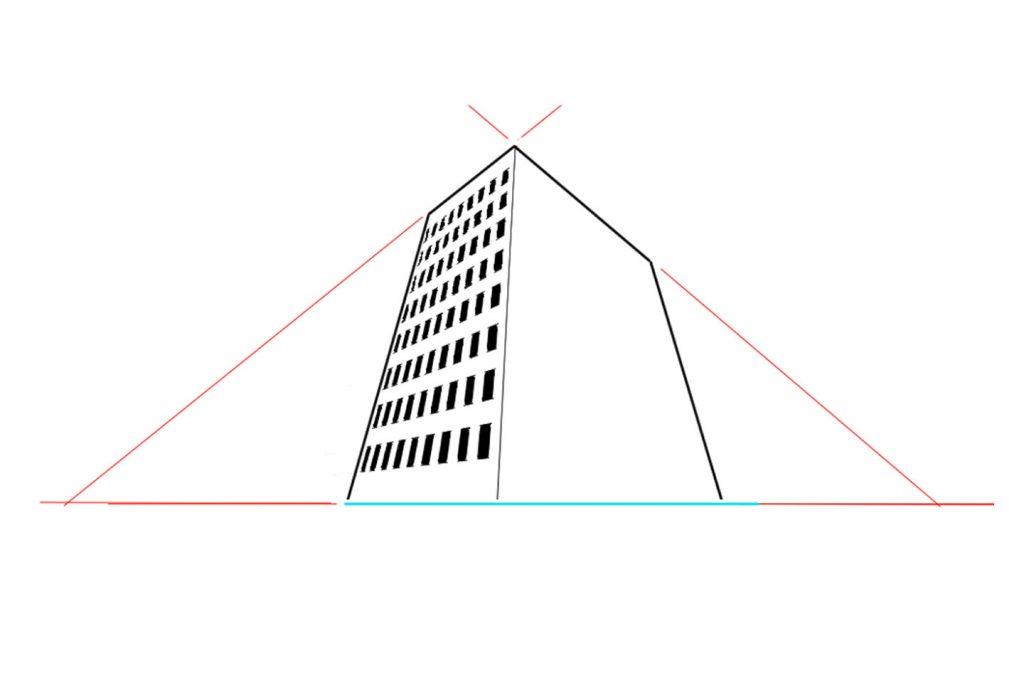 3点透視図法で描いた建物