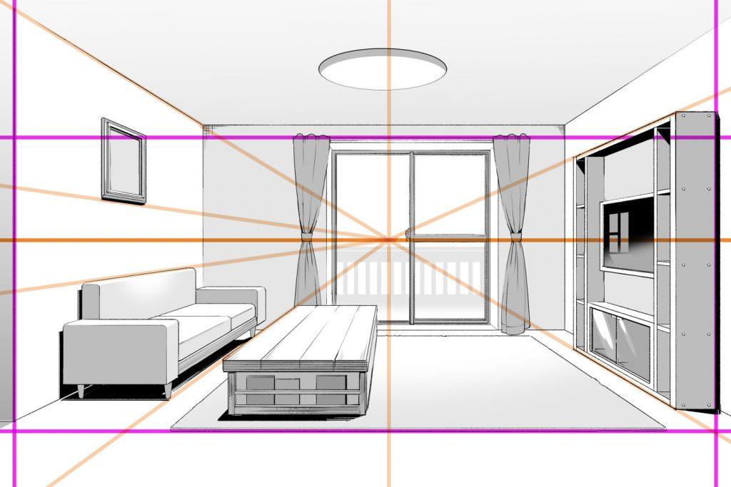 1点透視図法で描いた部屋