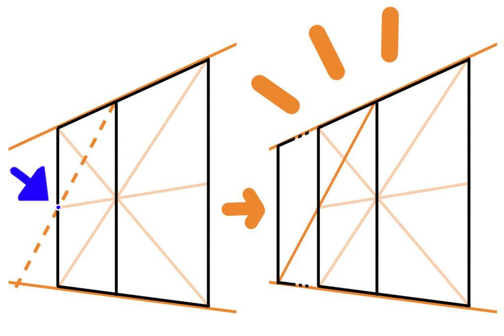 壁や床を延長する描き方