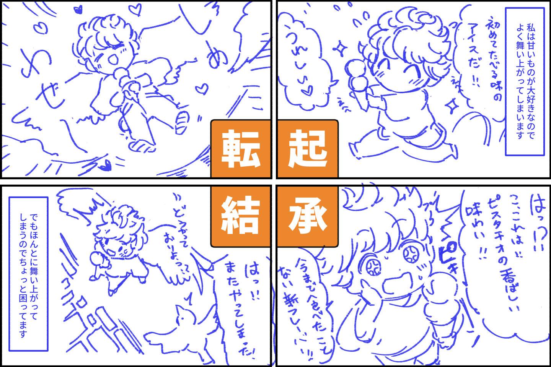 舞い上がる女の子の4コマ漫画