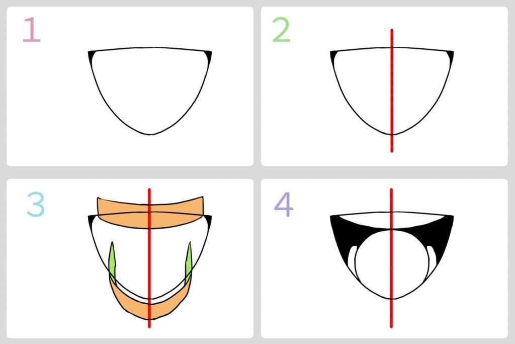 正面から見た歯の描き方手順