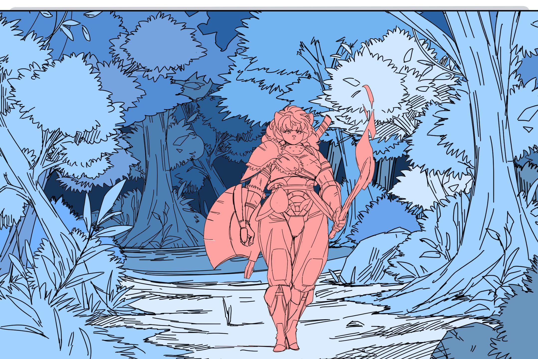 森を歩く剣士風のキャラ