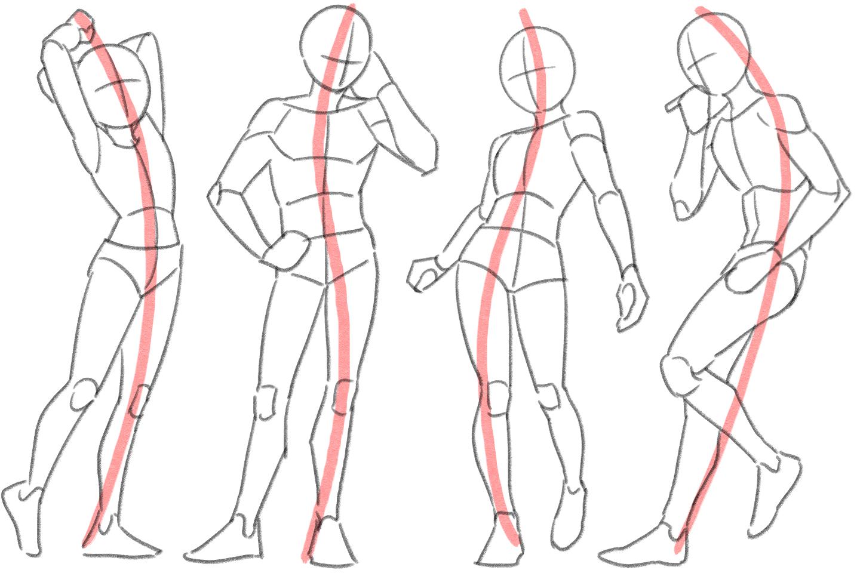 体の流れを意識したイラスト