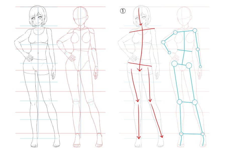 コントラポストを使った女の子ポーズの描き方解説