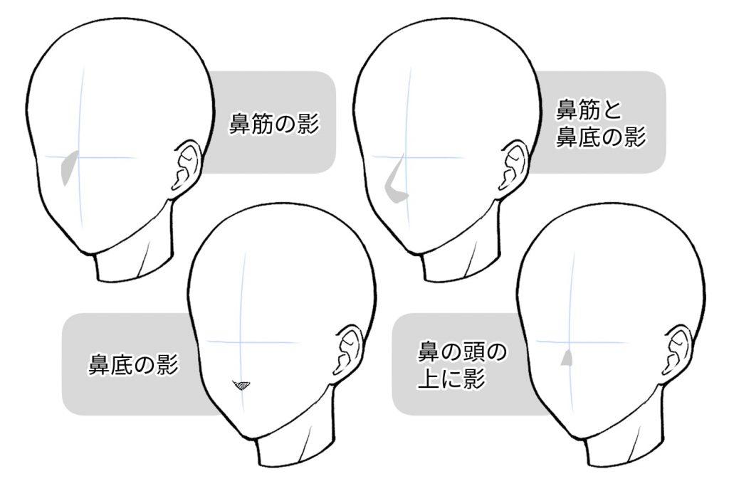 影だけで鼻を描く方法