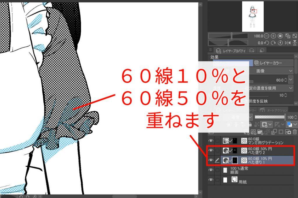 影60%線10%と60%線50%を重ねたイラスト