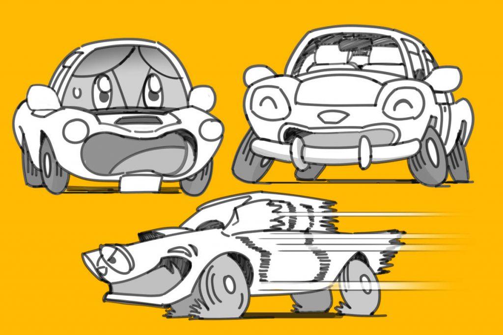 パーツを誇張した車イラスト