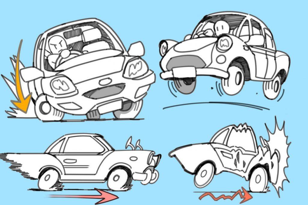 動きをつけて生き生きとした様子の車イラスト
