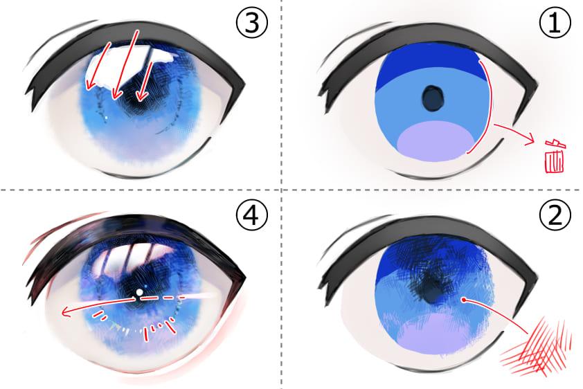 透明感のある目の塗り方手順