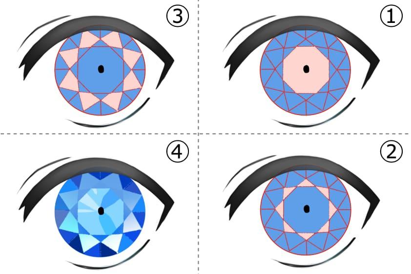 宝石のような目の塗り方手順
