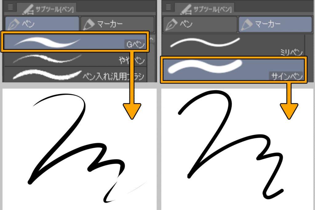 ペンツールの作画イメージ